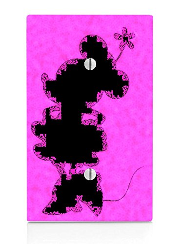Cute Mouse Silhouette Pink Design Print Image Single Blank Electrical Switch Plate (Cartoon Charachters)