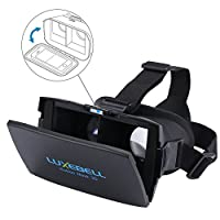 Luxebell 3D VR Glasses Virtual Reality Headset for 3D Movies and Games Compatible with iPhone 4s/5/5s And 4.7-6 Inch Smartphone iPhone 6 Samsung,Adjustable Strap,include Bluetooth Remote,NFC by Luxebell