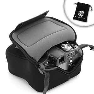 High Density Neoprene FlexArmor Camera Case for Panasonic, Nikon with attached lenses up through 14-45mm zoom