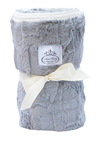 LUXE BABY Cloud Faux Fur Stroller Blanket, Grey/Cream