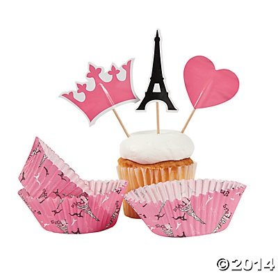 Pink Paris Love Eiffel Tower Baking Cups with Picks - 100 pcs