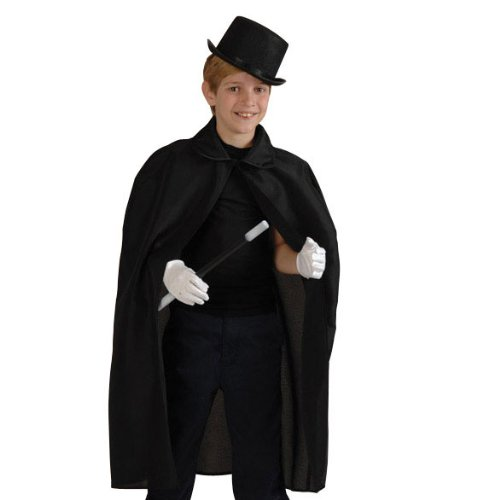 Magician Costume Kit - Cape, Hat, Wand, Gloves - Size M/L