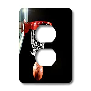 lsp_109442_6 Florene Sports - Basketball Hoop With Ball - Light Switch Covers - 2 plug outlet cover