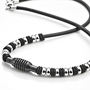 Mens Stainless Steel Rubber Surfer Beads Necklace Chain 21