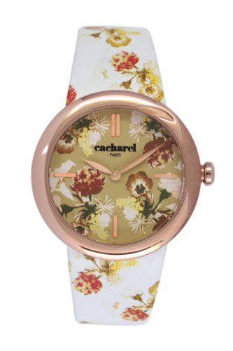 Cacharel CLD - 005/2 TB Women's Watch Analogue Quartz White Dial White Leather Strap Beige