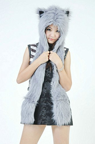 GREY Gray Anime Faux Animal Hood Hoods Mittens Gloves Scarf Spirit Paws Ears
