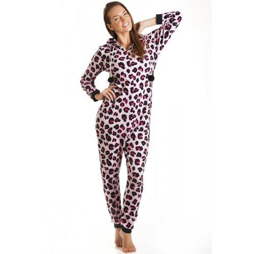combinaison pyjama capuche en polaire motif l opard femme rose taille 36 46 36 38. Black Bedroom Furniture Sets. Home Design Ideas