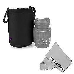 Altura Photo Medium Neoprene Pouch Bag for DSLR Camera Lens (Canon, Nikon, Pentax, Sony, Olympus, Panasonic) + MagicFiber Microfiber Lens Cleaning Cloth
