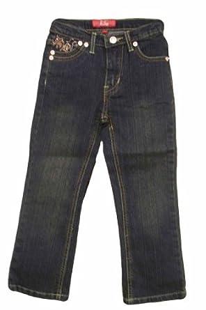 Pop Jeans Girls Embroidery Stretch Dark Denim Jeans ~ Size 4