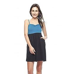 Gritstones Black Dress Sleeveles Open Neck-GSDRSTBLKV44-L