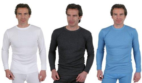 3er Pack Männer Thermo-Unterwäsche - Runder Auschnitt - langärmliches Unterhemd weiß, extra extra groß