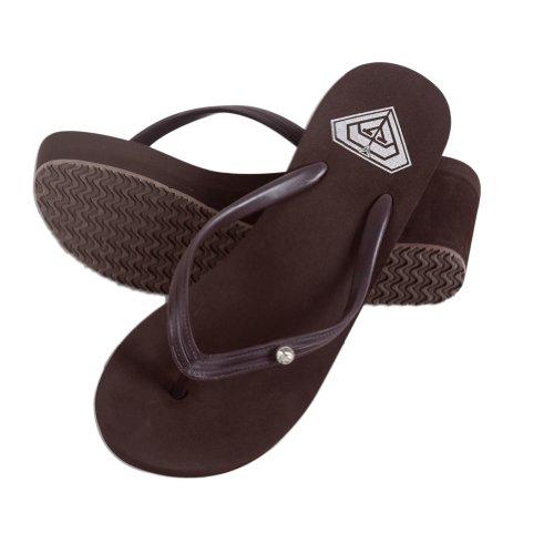 Toptie Women'S Wedge Flip Flop Sandals With Rhinestone Strap, Bride Flip Flop Coffee-L front-1045299