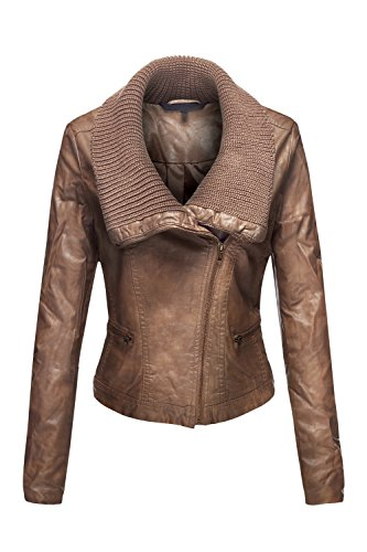 Faux Leather Moto RibKnit Collar Slim Jackets