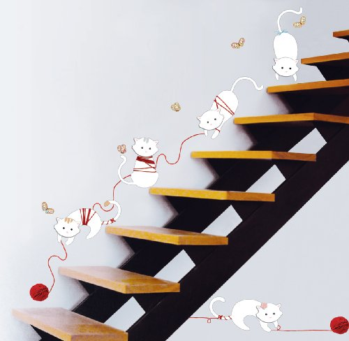 Jiniy CAT'S PLAYING WALL ART DECOR Mural Decal STICKER(KR0033)
