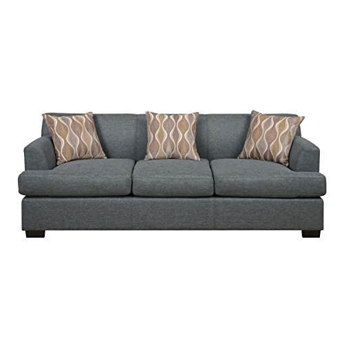 Modern Blue Grey Blended Linen Sofa by Poundex