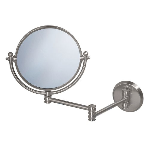 Gatco 1408 Wall Mount Mirror With 14-Inch Swing Arm Extents, Satin Nickel front-790059