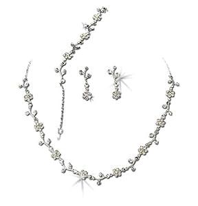 Silver-Tone Clear Floral Vine Wedding Necklace Earrings Bracelet Jewelry Set