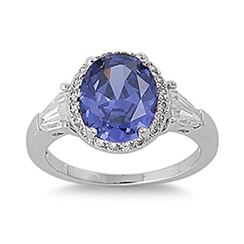 Sterling Silver Woman's Dark Blue CZ Fashion Ring Beautiful Band Size 10