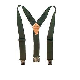 Perry Suspenders Mens Elastic Hook End 1 1/2 Inch Suspenders (Tall Available), Regular, Green