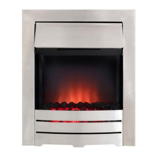 The Colorado Fire in Brushed Steel Electric Fire with Pebble Bed Glow Effect