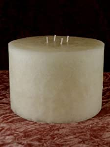 """8 Inch Diameter x 5 Inch Tall 4-Wick Round 8 Pound Unscented Candle â?"""" Black Color"""