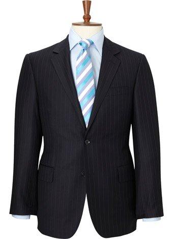 Austin Reed Regular Fit Navy Stripe Gabardine Suit SHORT MENS 38
