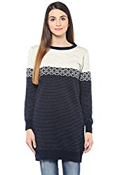 Honey by Pantaloons Women's High Neck Sweater (205000005620556, Blue, X-Large)