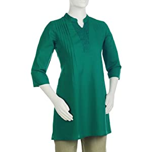Fabindia Women's Cotton Cambric Overlap Pleated Tunic|M|Turquoise
