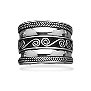 Bali Spirals and Rope Edge Wide Band Ring Sterling Silver, 5