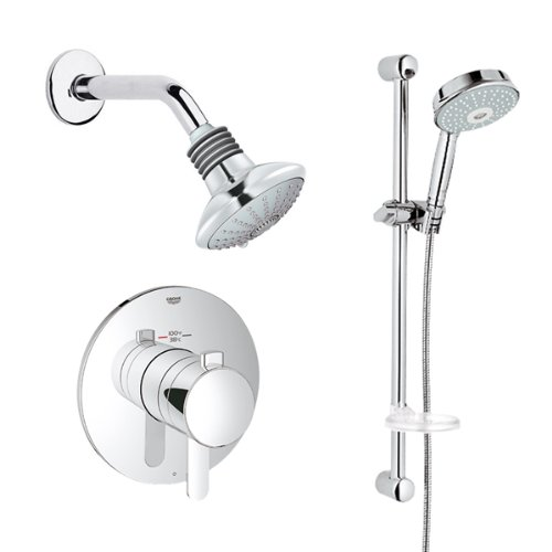 brushed nickel shower system. Grohe GRFLX-T302 Brushed Nickel GrohFlex Cosmopolitan Thermostatic Shower System Multi-Function Head