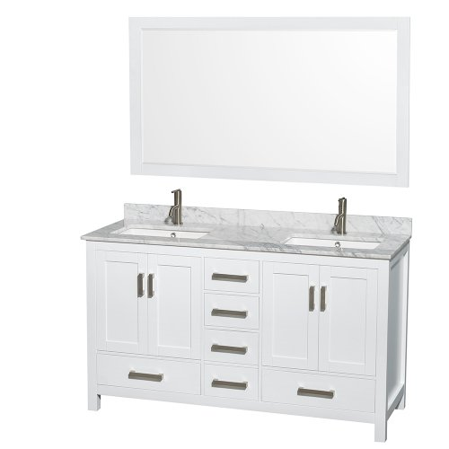Wyndham-Collection-Sheffield-60-inch-Double-Bathroom-Vanity-in-White-White-Carrera-Marble-Countertop-Undermount-Square-Sinks-and-58-inch-Mirror