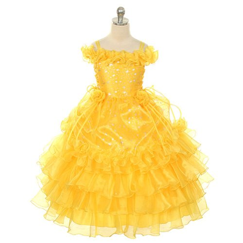 Rain Kids Girls 12 Yellow Stars Print Off Shoulder Pageant Dress back-111313