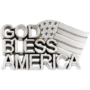 Sterling Silver God Bless America Lapel Pin 11.5x20.5mm - JewelryWeb