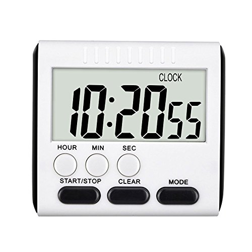 CoolHome Digital Kitchen Alarm Timer/Clock,Large LCD Display,Loud Alarm Magnetic Back and Retractable Stand,Minute Second Count Up Countdown (Black) (Digital Timer Clock compare prices)