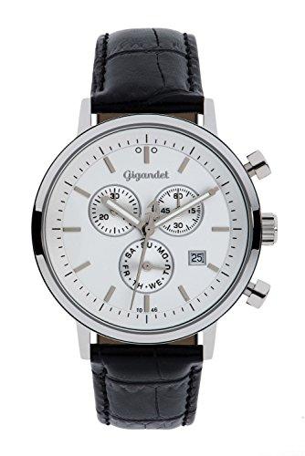 Gigandet CLASSICO Orologio da uomo - Cronografo al quarzo analogico - Impermeabile 50m/5bar - Quadrante argento - Indicazione della data - Cinturino in cuoio nero - G6-001