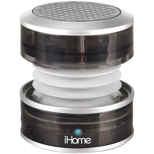 Ihome Rechargeable Portable Mini Speaker, With Vacuum Bass Speaker Technology, And Usb Plug For Charging Speaker And Audio Plugs For Connecting To Audio Source, Collapsible Design For Ultimate Portability, Power And Charging Led Indicators, Grey Transluce