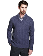 Collezione Lambswool Blend Shawl Collar Cable Knit Jumper