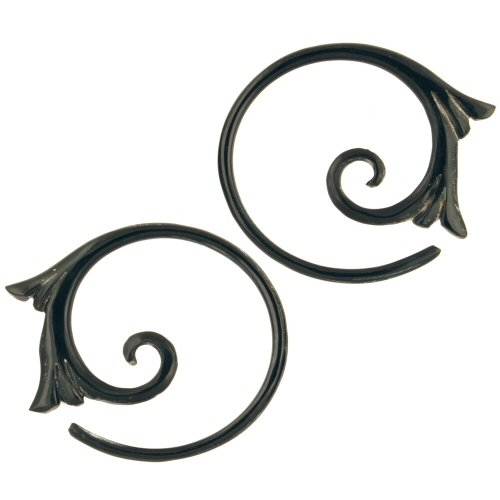 Pair of Horn Floral Spiral Hoops: 12g