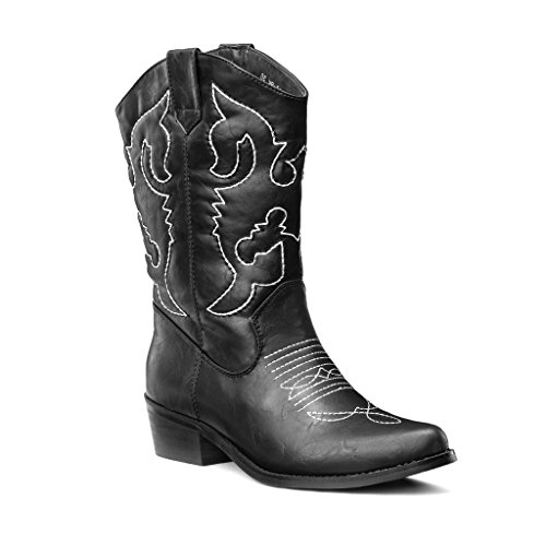 LARA's Womens Western Cowboy boots Mid Calf Fashion Black US 8