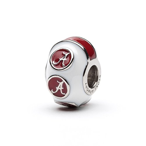 Alabama Crimson Tide 3-D Bead Charm - White with Crimson As - Fits Pandora & Others