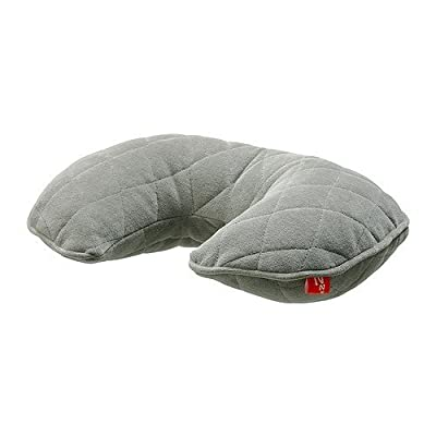 IKEA Nackenkissen 'Upptäcka' aufblasbares Kissen - INKL. Tragetasche - waschbarer, gesteppter Bezug - 9cm Durchmesser - GRAU