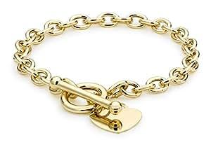 "Carissima 9ct Yellow Gold Women's Heart Tag T-Bar Bracelet 18cm/7"""
