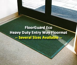 "Waterhog Style Entrance Door Mat - ""FloorGuard"" - 4' x 8' - Green - Full Coverage Fabric Border"