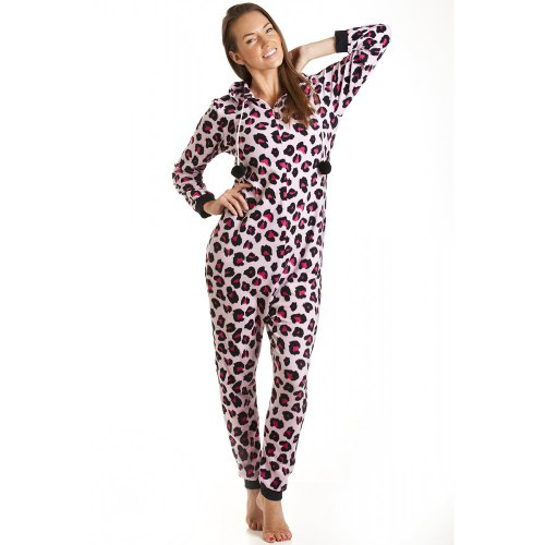 combinaison pyjama capuche en polaire motif l opard femme rose taille 36 46 36 38. Black Bedroom Furniture Sets. Home Design Ideas