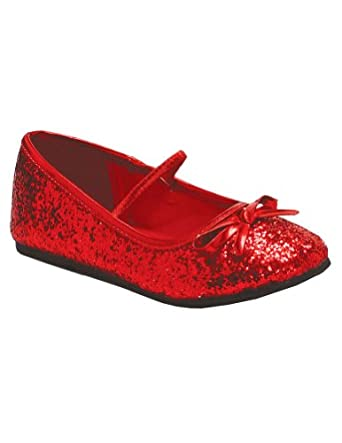 Kids Flat Ballet Slipper Glitter Costume Accessory, Red
