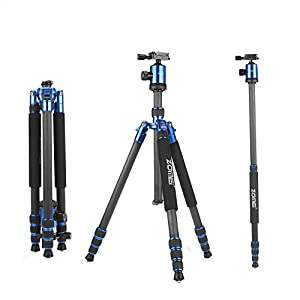 ZOMEi Z818C 65 Inch Height Professional Carbon Fiber 4-Section Leg Compact Travel Tripod With Ball Head and Carry Case For Canon Sony Nikon DSLR Digital Cameras
