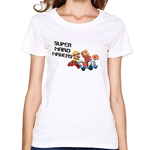 Women's Super Mario Maker Logo Short Sleeve O-neck T Shirts