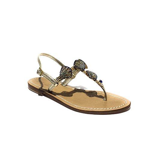 DG Positano sandalo gioiello donna nuovo pelle platino made in italy art.4341