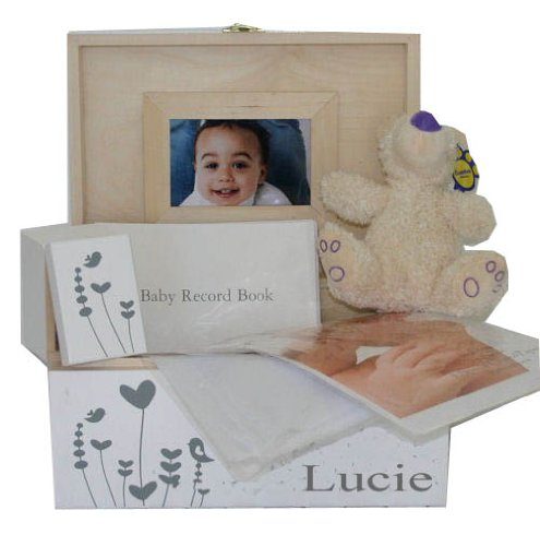 Personalised White New Baby Large Wooden Keepsake Box with First Curl or First Tooth Box Gift Set. Christening, Naming Ceremony or Baptism present.