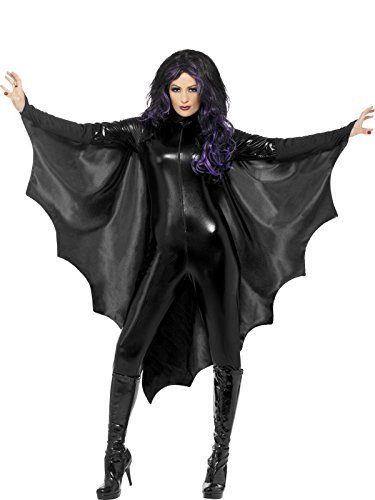 Smiffy's Vampire Bat Wings with High Collar - Black